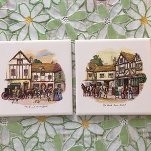 """Set of 2 """"Old Coach House"""" hot plate tiles"""